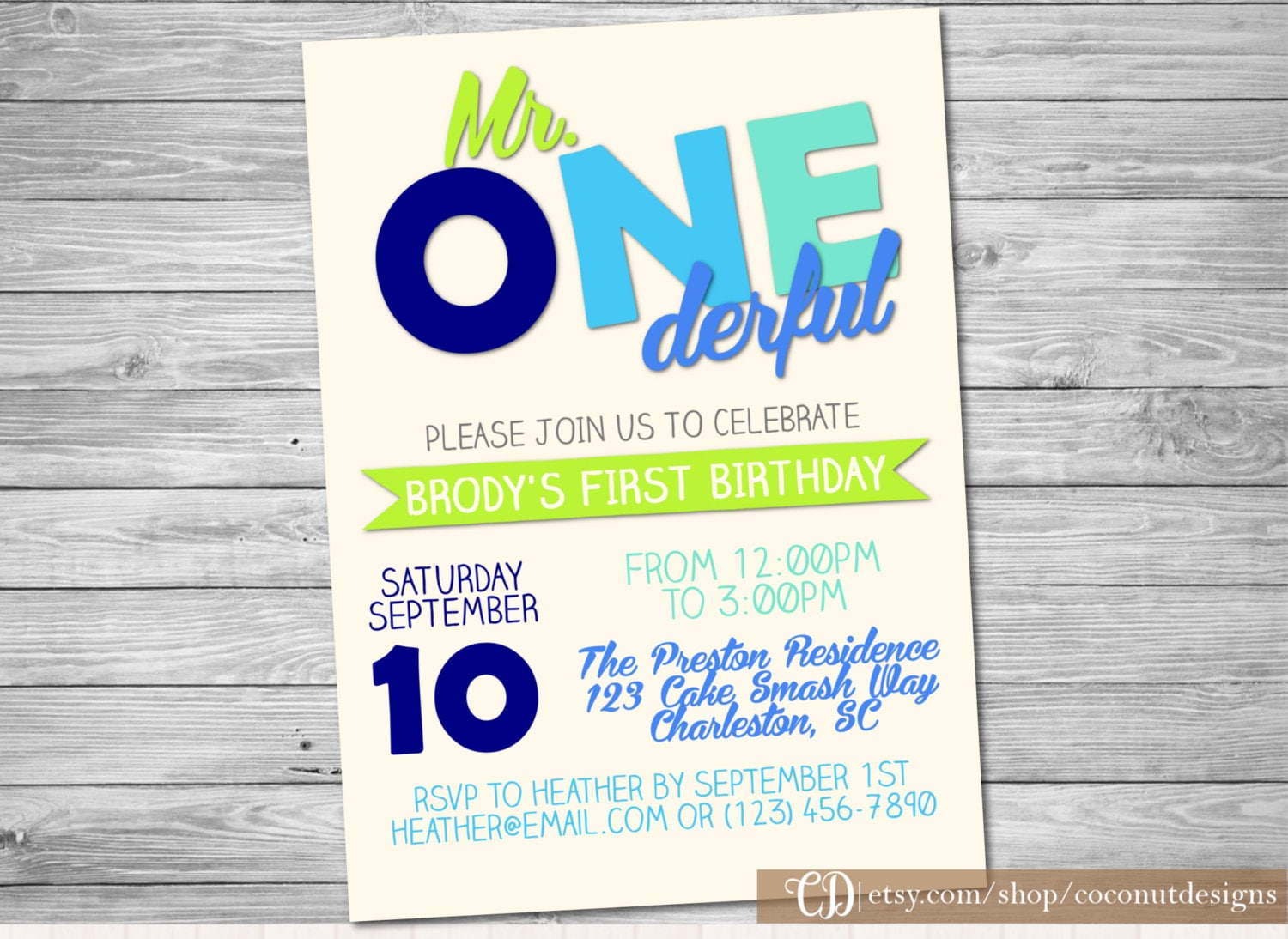Mr. ONEderful Invitation / First Birthday / Boy First Birthday | Etsy