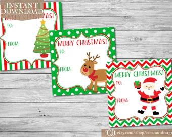 Christmas Gift Tags Printable / Holiday Gift Tags / Christmas Tags / Printable File / INSTANT DOWNLOAD