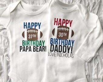 Happy Birthday Daddy Custom Date Bodysuit I Love Dad Guys Football