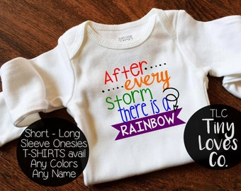 Rainbow Baby. Rainbow baby bodysuit. The rainbow after the storm. After every storm there is a rainbow. miracle baby. ivf baby. rainbow
