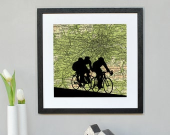 Cycling Silhouette over personalised map