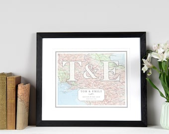 Couple's Initials Map Print