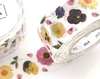 Pressed flower tape, Washi tape, mt for PACK, Flower decoration, Japanese stationery, Wide tape, Gift wrapping, DIY wedding, Birthday decor
