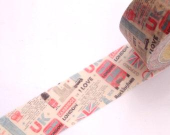 UK washi tape, London bus, Big ben, Masking tape, Japanese stationery Kawaii washi tape Wide paper tape, UK guards tape, England tape, Heiko