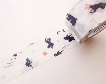 Ninja washi tape, Baby bog gift idea, Japanese Samurai, Masking tape, Kawaii stationery, Wrapping tape, Karate Aikido, Japanese martial art