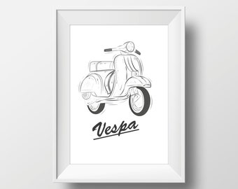 "Vintage Vespa Printable Art | Large Print 20"" x 28"" inches"