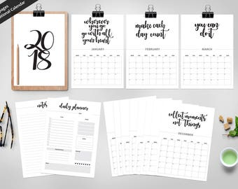 2018 Motivational Planner Printable| Minimal Calendar A4| Desk Calendar| Minimal Planner| Motivational Quotes| Notes & Daily Planner A4