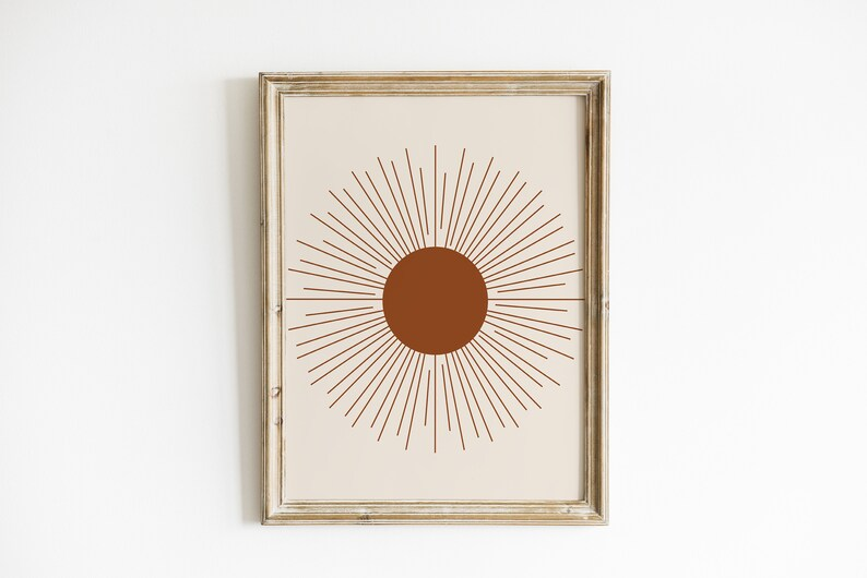 Mid Century Modern Boho Modern Sun Burst Printable Wall Art Instant Download Abstract Sun Print Neutral Tone Abstract Sun Wall Art Print