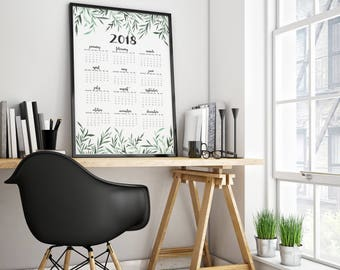 Wall Calendar 2018 - Watercolor Olive Leaf large print - Desk Calendar - Minimal Art Print