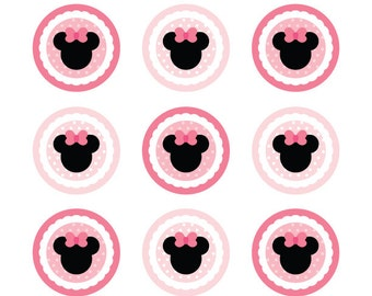 Minie Mouse Birthday Party Circles Cupcake Toppers