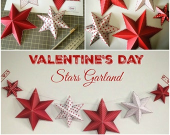 Valentine's Day decor, Valentine's Day garland, Valentines party decorations, DIY Valentines garland, Printable red stars, Instant download.