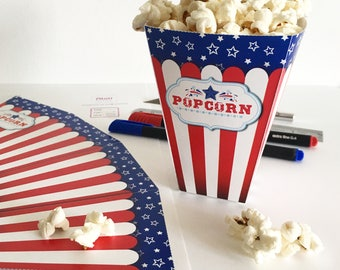 4th of july party decor, Printable 4th of July decor, July 4th Popcorn box template, Printable popcorn box for 4th of july party decorations