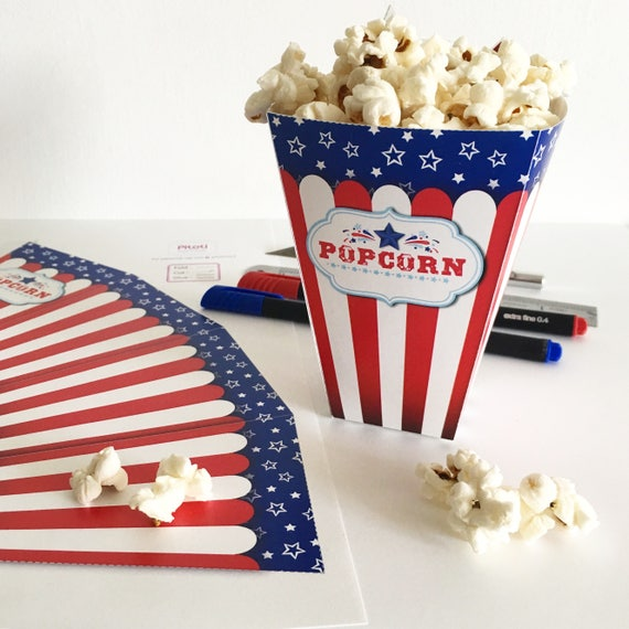 graphic relating to Printable Popcorn Boxes named 4th of july occasion decor, Printable 4th of July decor, July 4th Popcorn box template, Printable popcorn box for 4th of july get together decorations