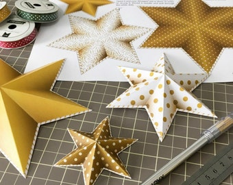 Gold star garland, Gold party decor, Printable Party decor, DIY party decorations, Gold stars garland, DIY gold stars, Instant download.
