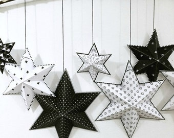 DIY Baby shower decorations, Printable baby shower banner, Unique baby shower decor, black and white stars banner, Diy decor for baby shower