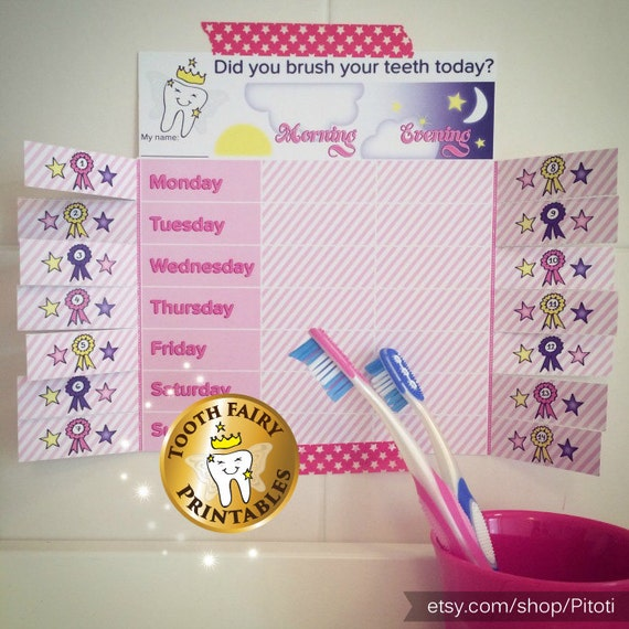 Teeth Brushing Chart For Girls Printable Reward Chart Instant