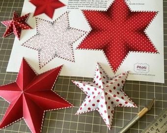 DIY Christmas tree garland, Printable Christmas tree decorations, Christmas tree ornaments, Red and white Christmas decor, Christmas craft.