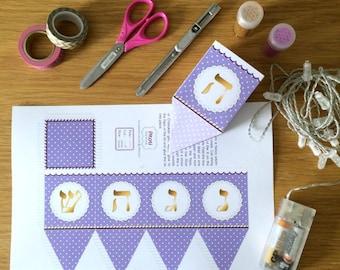 Hanukkah dreidel, printable dreidel template to create 3D paper dreidels favors for chanukka decorations, purple dreidel Instant download.
