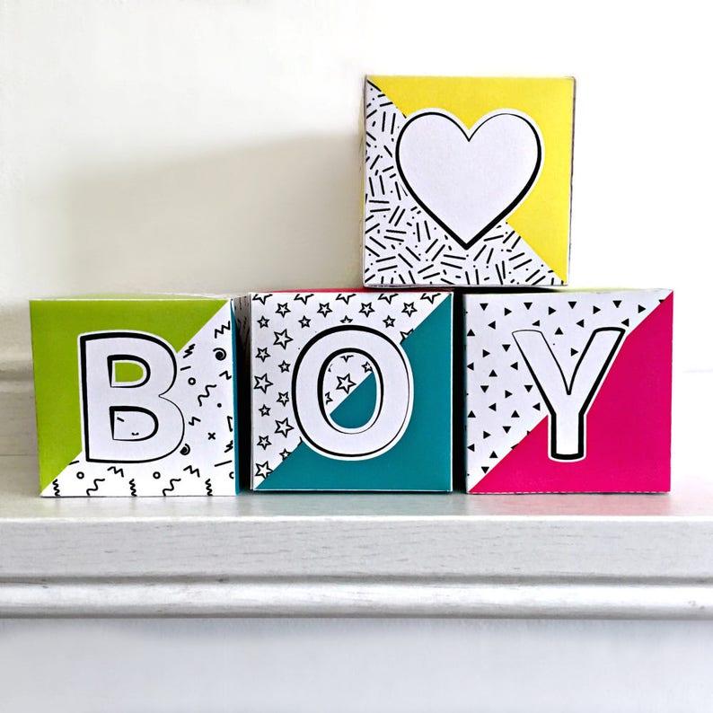 Baby Shower Centerpiece Block Letter Blocks For Baby Shower Etsy