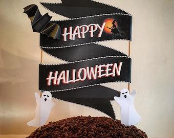 Halloween cake topper, Halloween cake decoration Printable cake topper for Halloween DIY Halloween decoration, Halloween cake banner {black}
