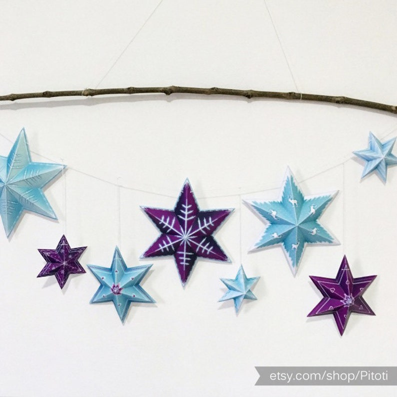 photograph about Printable Stars identified as Celebrities garland, Fast obtain printable superstars garland, Simple origami superstars for bash decorations or place decor.
