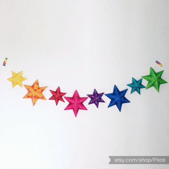 Gay Pride Flag Printable Gay Party Decor Rainbow Garland Gay
