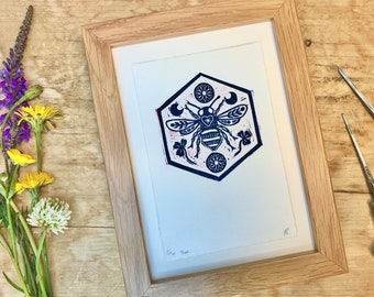 bee linocut-bee print-handprinted-hand carved-editioned Lino print-hand cut-natural paper-rustic art-gift-bee wall art-unique-nature-clover