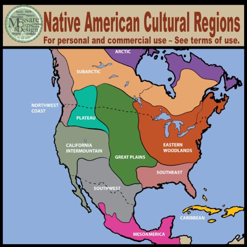 Map Clipart: North America Native American Cultural Regions | Etsy