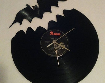 Handmade vinyl record bat clock!!