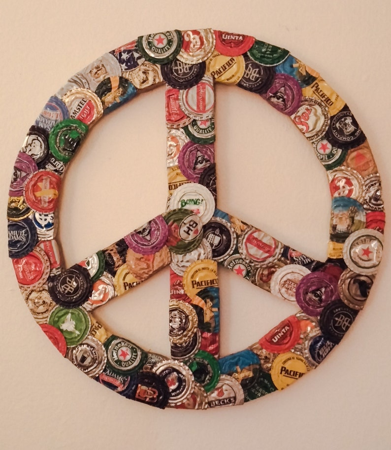 UpCycled wall art Bottle cap peace sign  cdf3546d607