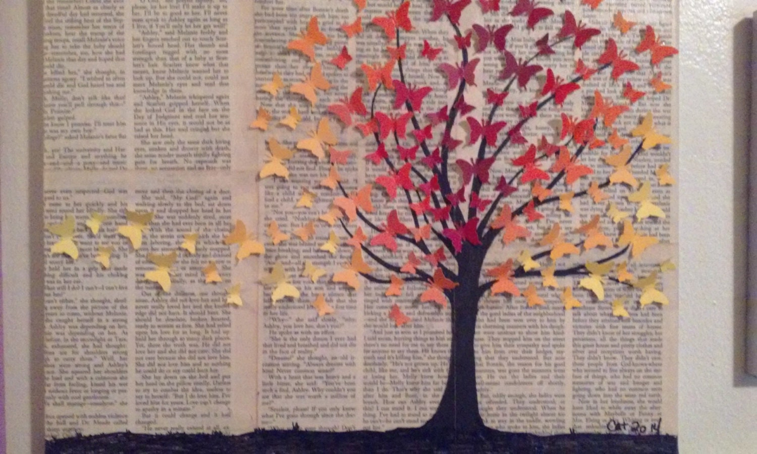Unique upcycled butterfly tree wall art background created etsy