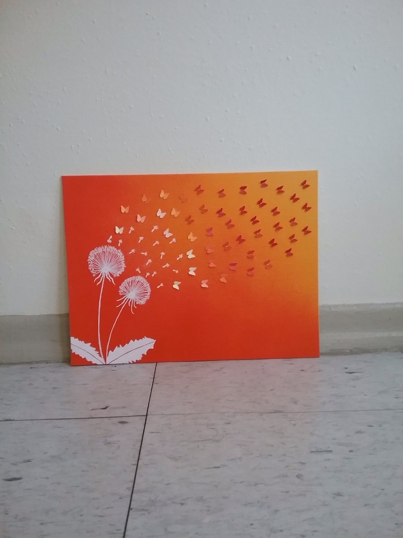Dandelion Wall Art One Of A Kind Home Decor On 9x12 Canvas