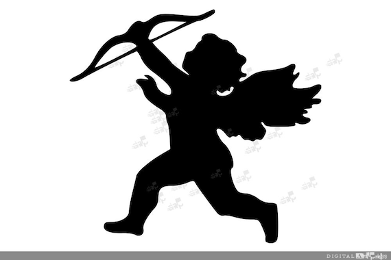 Cupid Silhouette Clip Art Cupid Clipart Digital Instant Etsy