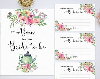 Advice for the Bride Cards and sign, Bridal Shower Tea Party Advice Cards, Bridal Advice Cards INSTANT DOWNLOAD