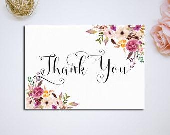 printable thank you card bridal shower digital files floral thank you bridal thank you diy wedding instant download