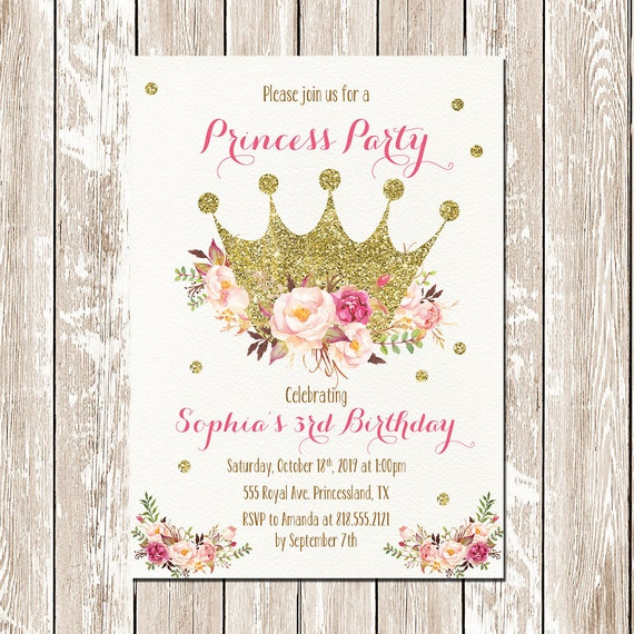 printable princess invitation princess birthday invitation