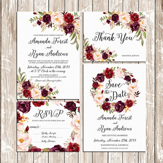 printable wedding burgundy purple and pink invitation set boho etsy