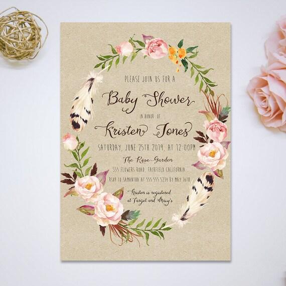 InvitaciónTarjetas Para Imprimir Acuarela De Plumas Vintage Bebé Ducha Y Diy Floral RosaFlores Baby Shower P8Oknw0