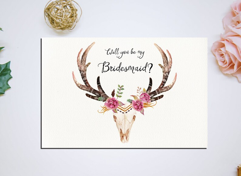 Will You Be My Bridesmaid Deer antler Printable 6x4 Wedding image 0