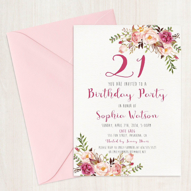 Birthday invitation Printable birthday Invitations Floral | Etsy