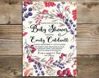 Printable enchanted forest Baby Shower Invitation, magical baby shower invitation, magical forest baby shower custom invite, Baby Shower DIY