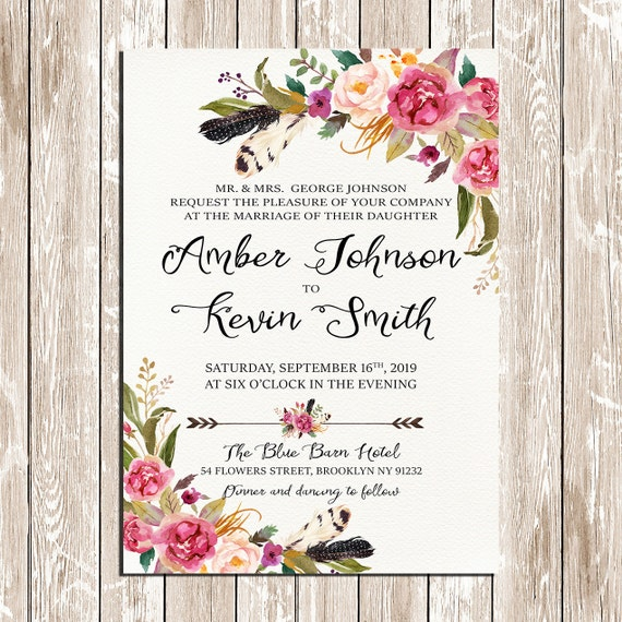 Blumen Und Federn Bohmischen Blumenkranz Hochzeit Einladung Etsy