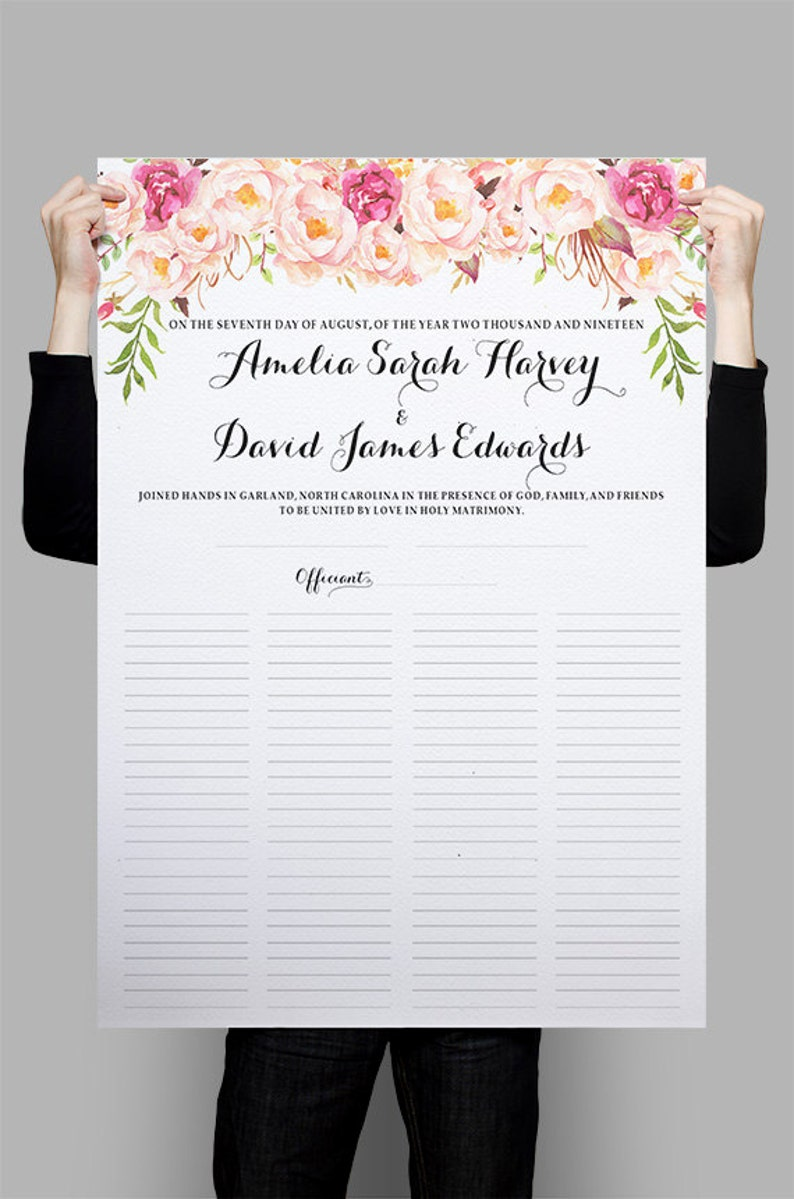 Printable Quaker Marriage Certificate Alternative Guest Book Etsy