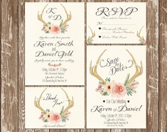 Invitation kit Deer Antler Wedding Invitation rustic watercolor Set/Suite Save the date RSVP Thank You Cards Printable digital files