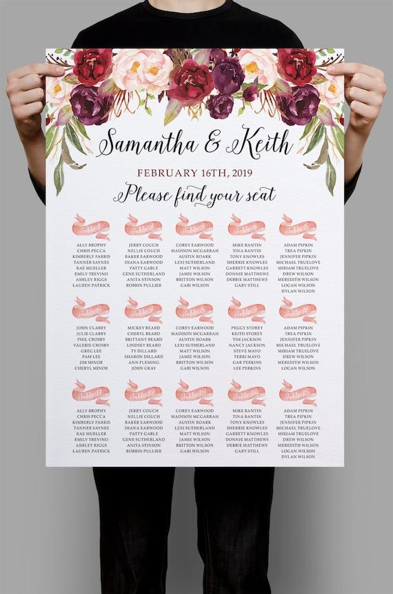 printable wedding seating chart burgundy purple and pink etsy