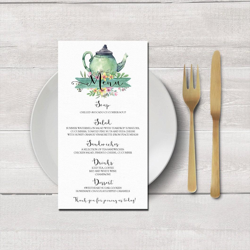 Druckbare Tea-Party-Menü-Karte Topf Teekarte Bridal | Etsy