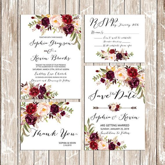 Druckbare Hochzeit Bordeaux Lila Und Rosa Einladung Set Boho Etsy