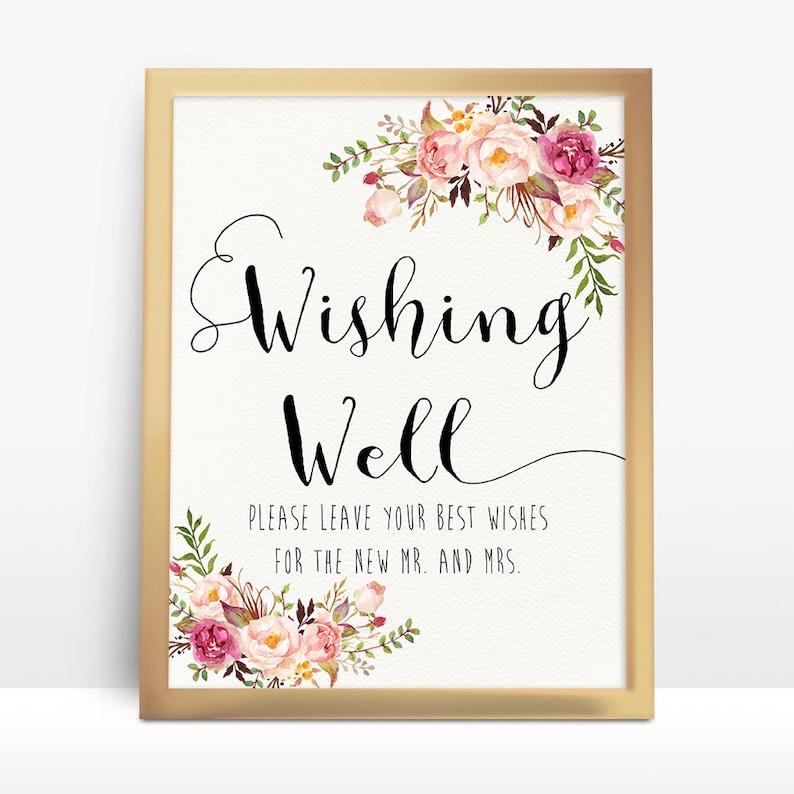 Wishing Well Wedding.Pink Floral Wishing Well Wedding Sign 8x10 A4 8 5x11 Wishing Well Sign Wedding Sign Printable Wedding Signs Wedding Decor Signs Pf 18