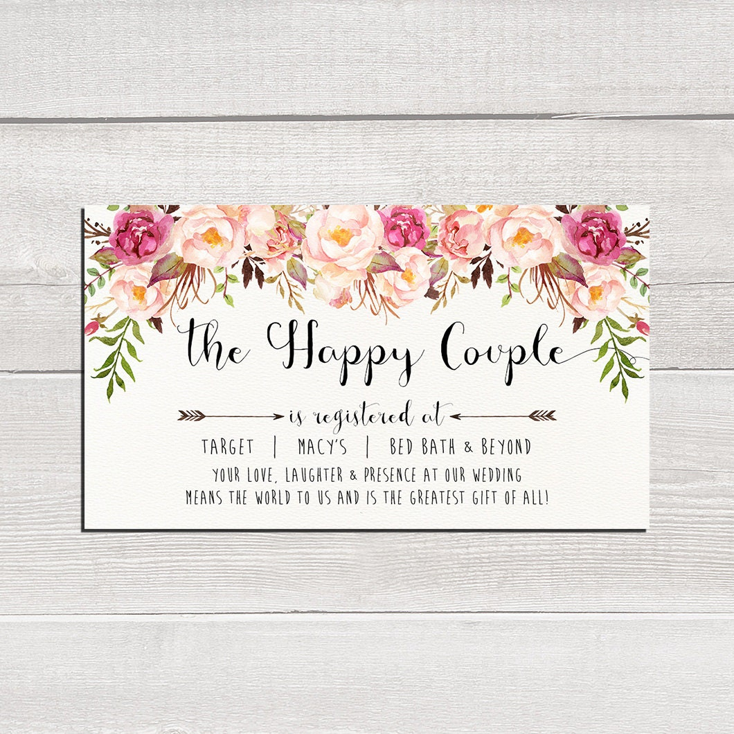 Gift Card For Wedding: Wedding Registry Card The Happy Couple Printable Wedding