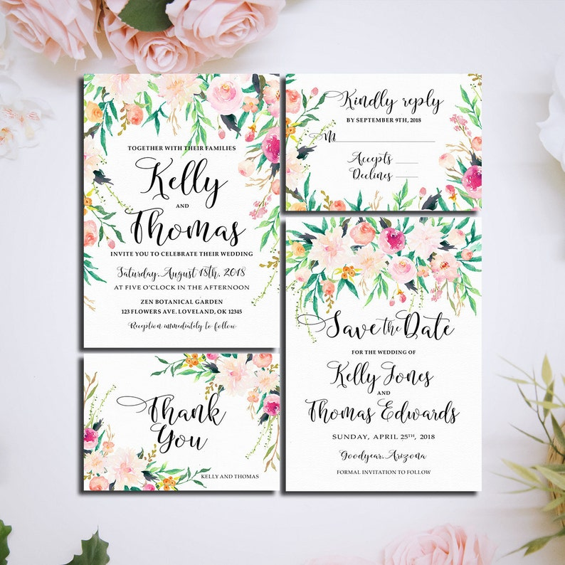 Wedding Menu Card Printable Digital Files Romantic Garden Etsy